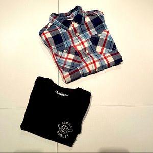 Hurley cotton n Urban Pipeline flannel boy shirts